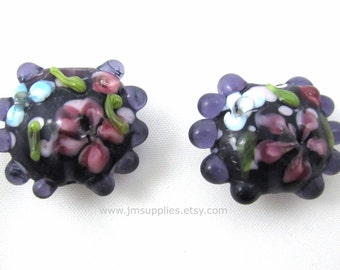 22mm Translucent Purple with Handpainted Flowers Disc Lampwork Bead