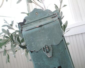 Vintage Mail Box * Aqua * Shabby Chic * Chippy * Cottage * Pink