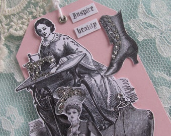 Vintage Sewing Ephemera Art, Victorian Ladies Gift, Victorian Fashion Tag, Hand Stamped Tag, Assemblage Paper Tag, Paper Doll Tag