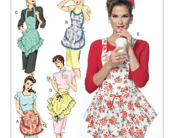 APRON SEWING PATTERN / Vintage Style 40's Full and Half Aprons / Retro Pattern / 4 Sizes