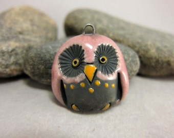 Pink Owl...Raku Pendant