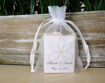 3 oz. Soap Wedding Favors, Wedding Shower, Personalized Wedding Label, Wedding Favors in Organza Pouch, Flowers , Soap, Organza Bags