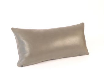 Gray Leather Pillow - Grey Lumbar Pillow - Leather Lumbar Support - Small Gray Leather Pillow - Small Grey Leather Pillow