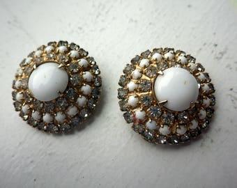 Vintage Hattie Carnegie Clip on Earrings - Milk Glass/Rhinestone - 1950s.