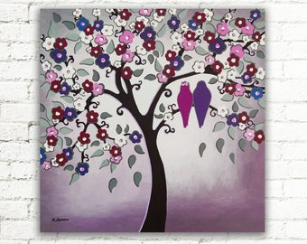 Mothers Day Gift Original Tree Painting Purple Wall Art, Love Birds Painting Canvas Art, Cherry Blossom Woodland Bedroom Decor