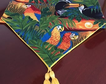 Wildlife Paradise Tropical Rainforest Toucan and Parrot Birds Cotton Table Runner by ThemeRunners