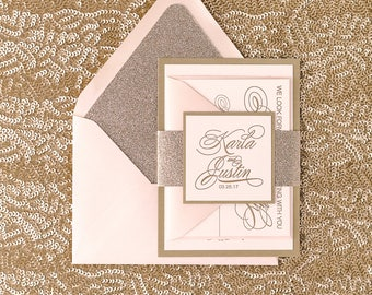 Letterpress - Fancy Blush and Gold Glitter Wedding Invitations - SAMPLE (BIANCA)