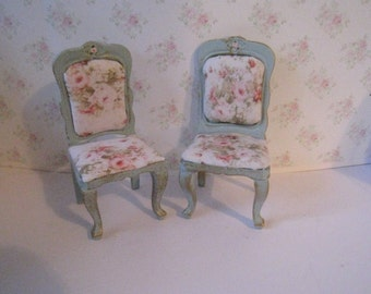 Two Dollhouse   Chairs, Tatty Chic chair set.  duck egg blue chairs, , rose seats,  Miniature chairs, Twelfth scale dollhouse miniature