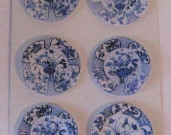 Dollhouse Plates, card , Blue and white plates,  card plates,  hand finished, twelfth scale dollhouse accessory