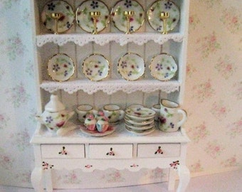 Dollhouse Dresser,dining room hutch,  Filled dresser,, Rose china,  White dresser, hutch, furniture,  twelfth scale, dollshouse miniature