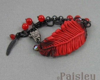 Cardinal feather bracelet, red black polymer clay bar on beaded matte black chain