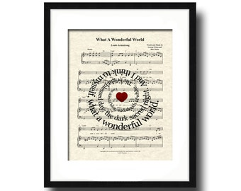 What A Wonderful World Sheet Music Song Lyric Art Print, Louis Armstrong's What A Wonderful World Art Spiral Art, Spiral Lyric Art