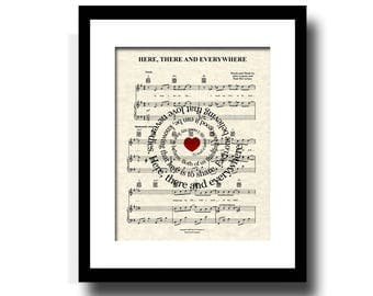 The Beatles Here, There and Everywhere Song Lyric Sheet Music Art, Beatles Music Art, Custom Wedding, Custom Anniversary, Names and Date Art