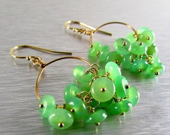 25OFF Chrysoprase And Gold Filled Dangle Earrings