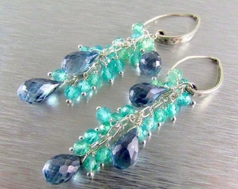 25OFF Denim Blue Quartz and Apatite Sterling Silver Dangle Earrings