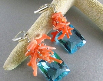 25OFF Blue Topaz With Coral Braches And Sterling Silver Lever Back Earrings