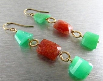 25% Off Chrysoprase and Sunstone GF Wire Wrapped Dangle earrings