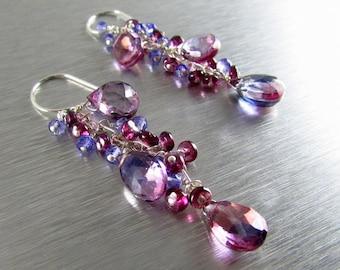 Bi Color Quartz With Rhodolite Garnet Dangle Cluster Earrings
