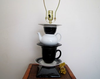 "Vintage Teapot Lamp, Black and White Lamp, Re-purposed Lamp, 24"" ,Reduced from 79.95"