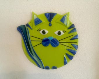 Circular Fused Glass Whimsical Green Blue Cat Plate Plaque Wall Hanging