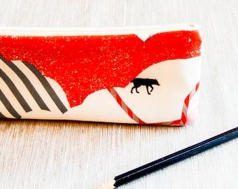 Pencil Case, Pencil Pouch, Zipper Pouch, Fabric Pouch, Pouch, Long Pencil Case, Zipper Case, Fabric Zipper Case, Fox Fabric Pencil Pouch