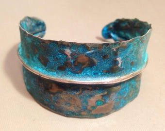 Copper Leaf cuff Bracelet Turquoise Verdigris patina-Handmade forged and hammered