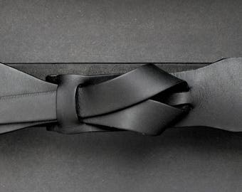 Leather Belt /Matte Black 2 inch or 5 cm by Muse Nickel- Free/vegetable tanned leather