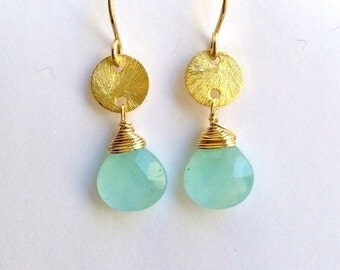 HOLIDAY SALE Aqua Gemstone Earrings Aqua Chalcedony Dangle Earrings Gold Filled Wire Wrap Minimalist Petite Earrings Bridesmaid Jewelry