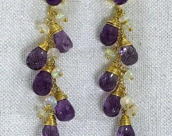 Opal Amethyst Earrings Boho Dangle Wire Wrap Gold Fill Purple Amethyst Post Earrings Ethiopian Opal Gold Post Earring Boho Chic Luxe