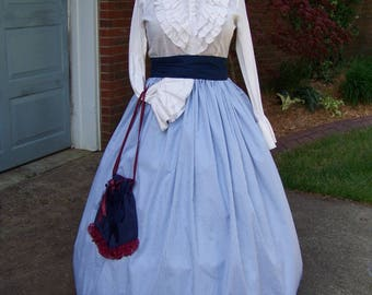 Colonial,Civil War,Victorian, Long SKIRT for camp dress one size fit all Small blue Roses with vine print with blue or Green sash