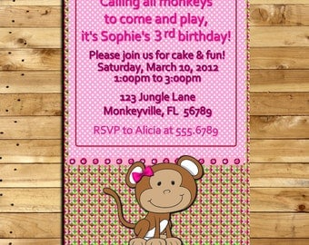 Custom Made -  Birthday  Invitation - Pink and Brown Monkey - 4 x 6 print - Digital Delivery