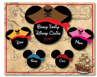 Ships Between July 15-20 Handmade Disney Inspired 8 x 10 Pirate Family Mouse Head Magnet for Disney Cruise