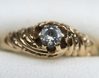 Victorian Claw Belcher Natural Diamond Engagement Ring
