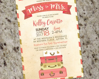 Coral and Gold Glitter Travel-Themed Bridal Shower Invitation with Vintage Postcard Look - DIY Print Your Own