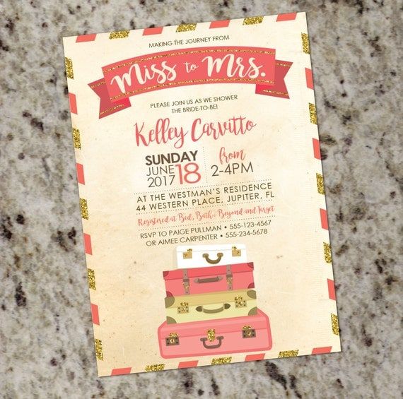 Coral and gold glitter travel themed bridal shower invitation with il570xn filmwisefo