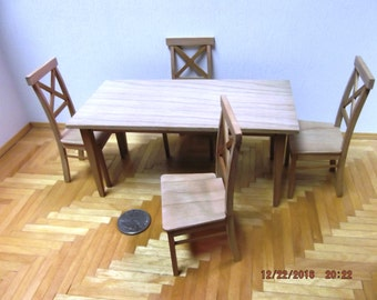 Miniature Unfinished Cherry Wood Table and Chairs Set