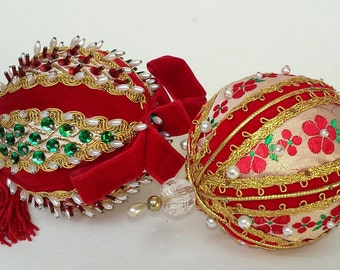 2 Vintage Beaded hand made Christmas Ornaments Sequins Velvet Ribbon Red Green holiday Xmas