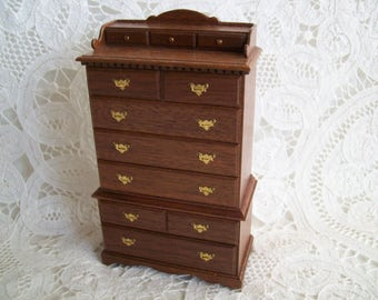 Miniature, hand made, one inch scale, cherry, Chest on Chest by Jon Hinrichson in 1983