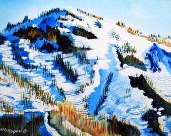 mountain watercolor, mountain painting, watercolor painting, original watercolor, mountain landscape, mountain art, mountain wall decor,