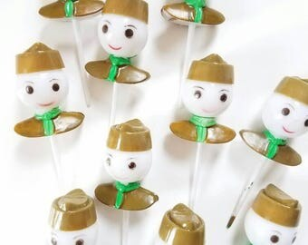 12 Vintage Boy scout cupcake toppers - Wes Anderson campy style