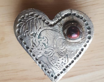 One of a Kind Heart Pin Fine Silver and Fused Glass