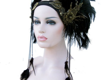 Custom,Evening Goddess Headpiece,  Feathered headwear, gypsy tribal goddess, winged Headwear, : by Renegade Icon designs