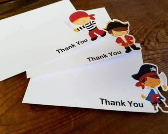 Pirate Boy Party - Set of 8 Assorted Pirate Boy Thank You Cards by The Birthday House