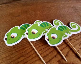 Rapunzel Party - Set of 12 Pascal Cupcake Toppers by The Birthday House