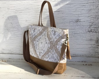 Cream, Gray, Beige & Tan Leather Tote, Large Purse, Crossbody Bag, Travel Carry On, Diaper Bag, Computer Bag, Shoulder Bag