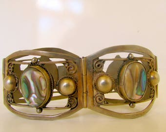 Vintage Sterling Silver Taxco Cuff Bracelet Abalone Signed Taxco Sterling 925