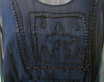 Antique Beaded Silk Dress Flapper Dress Navy Blue Silk Gown Dress (needs re-purposed) Downton Abbey Dress