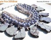 SPRING SALE Lilac vintage glass pearls with pale purple semi precious turquoise nugget handmade necklace