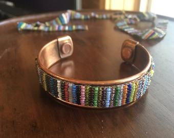 Vintage Cooper Bracelet with Vintage Indian Seed Beads