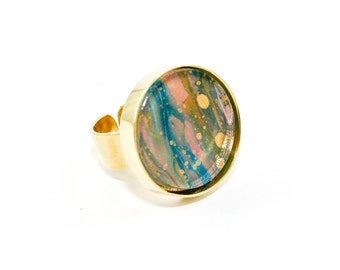 Abstract Art Drip Painting Ring - Acrylic in Round Brass Ring - Olive Green, Blue, Pink, Gold (Original Painting)